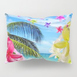 Tropical Beach and Exotic Plumeria Flowers Pillow Sham