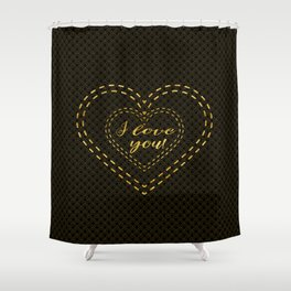 Elegant Gold Black Great Gatsby Hearts I Love You typography Shower Curtain