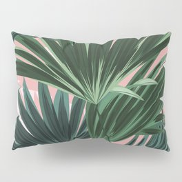 Pink and green palm trees Pillow Sham