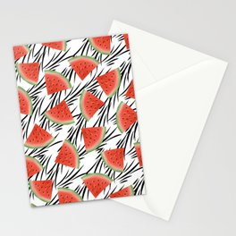 Watermelon slices on white black stripes on the background. Stationery Cards