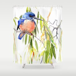 KIngfisher and Weeping Willow Shower Curtain