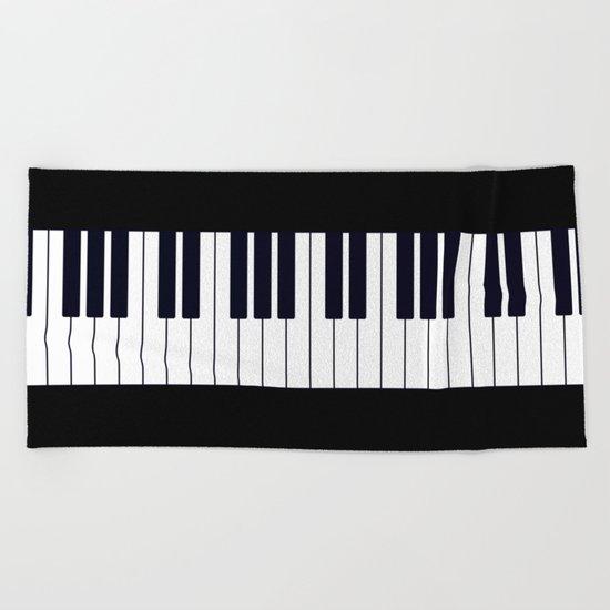 Piano Keys - Black and white simple piano keys pattern minimalistic music themed artwork Beach Towel