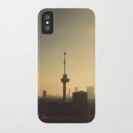Sun rising in Rotterdam iPhone Case