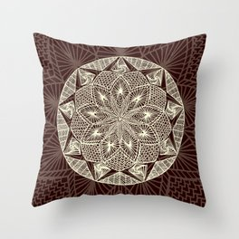 Maroon Mandala 2 Throw Pillow