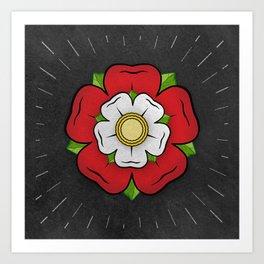 Red Tudor Rose British Flag Red Union Historic Heraldry Art Print