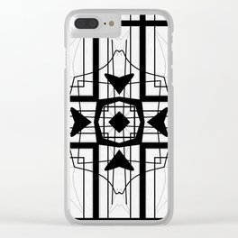 Black and White Block  Pattern Design Clear iPhone Case