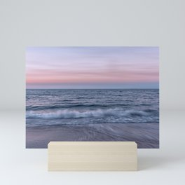 Pastel beach sunset Mini Art Print