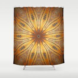 Bright Antique Gold Mandala Shower Curtain