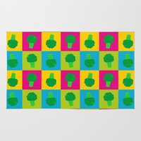 popart Area & Throw Rugs featuring Popart Broccoli by XOOXOO