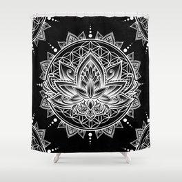 Lotus Mandala - Black Shower Curtain