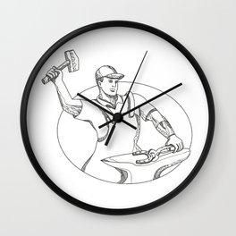 Farrier Wielding Hammer Oval Doodle Art Wall Clock
