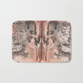 brown Rorschach test, watercolor, monotype, abstract symmetric painting Bath Mat