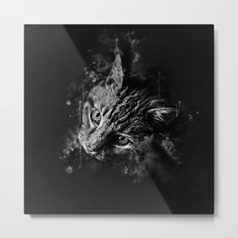 scary lurking cat from right splatter watercolor black white Metal Print