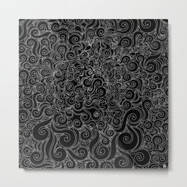Black & White Swirly 2 Metal Print