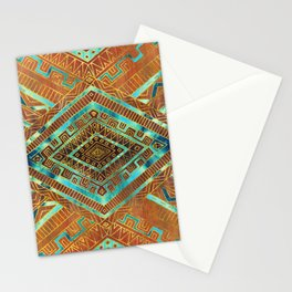 Tribal  Ethnic Boho Pattern burnt orange and gold Stationery Cards