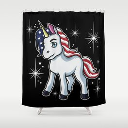 Americorn | Patriotic Unicorn Independence Day USA Shower Curtain