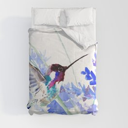 Flying Hummingbird and Blue Flowers Comforters