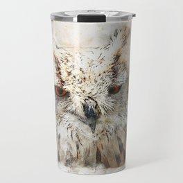 Bird owl animal art abstract Travel Mug