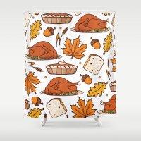 thanksgiving Shower Curtains featuring thanksgiving by Ceren Aksu Dikenci