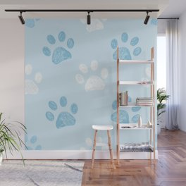 Blue and white colored paw print pattern Wall Mural