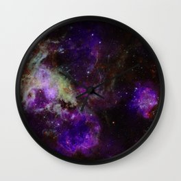 Purple Nebula Wall Clock