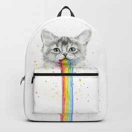 Kitten Puking Rainbows Cat Rainbow Vomit Backpack
