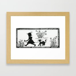 Girl walking her cat ToniGScott Framed Art Print