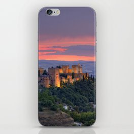 The alhambra and Granada city at sunset iPhone Skin