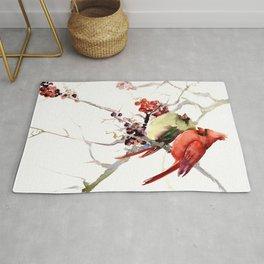Cardinal Birds, birds art, two bird artwork cardinal bird Rug