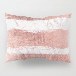 Elegant faux rose gold glitter marble brushstrokes Pillow Sham