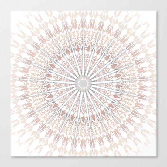 Beige White Mandala Canvas Print