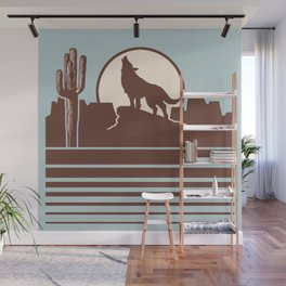 Howling at the Moon Landscape 232 Beige Brown and Blue Wall Mural