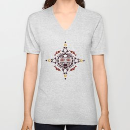 pattern with Tribal mask ethnic Unisex V-Neck