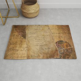 Two Hearts are One - Vintage Romantic Steampunk Art Rug