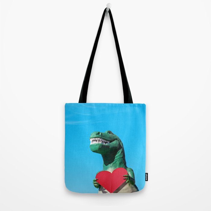 Tiny Arms, Big Heart: Tyrannosaurus Rex with Red Heart Tote Bag
