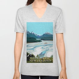 Dart River Valley, Glenorchy Unisex V-Neck