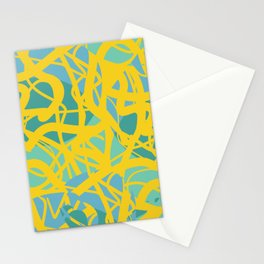 Yellow Green Acqua Abstract Organic Pattern Desig Stationery Cards