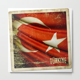 Grunge sticker of Turkey flag Metal Print