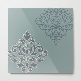Scroll Damask Art I (outline) Crm Blues Teal Metal Print