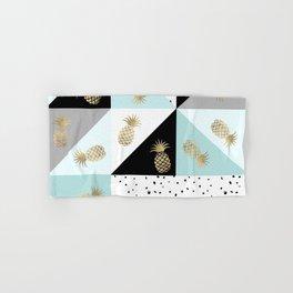 Pastel color block watercolor dots faux gold pineapple Hand & Bath Towel