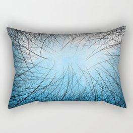 Cyan Linear Crosshatch Rectangular Pillow