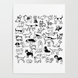 Black and White Dog Drawings | Cute Canines Pattern Poster