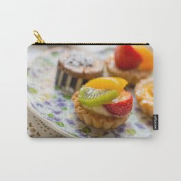 Small fruit tarts laid out on an antique china plate Carry-All Pouch
