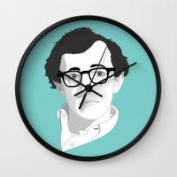 woody allen Wall Clocks featuring Woody Allen by Janko Illustration