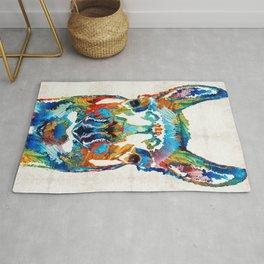 Colorful Llama Art - The Prince - By Sharon Cummings Rug