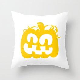 Halloween Watercolor Pumpkin Face Orange Throw Pillow