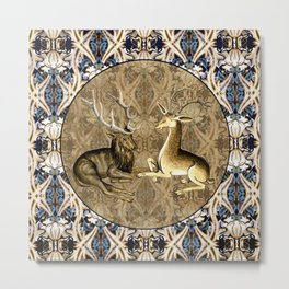 Tudor Pattern Book Harts Metal Print