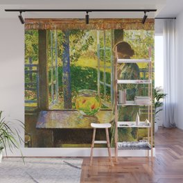 Classical Masterpiece 'The Goldfish Window' by Frederick Childe Hassam Wall Mural