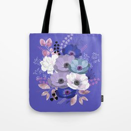 Anemones & Gardenia Blue bouquet Tote Bag