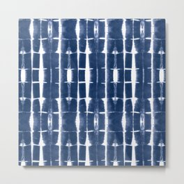 Shibori Stripes 3 Indigo Blue Metal Print